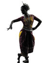 Indian woman dancer dancing silhouette one in studio isolated on white background Stock Photos