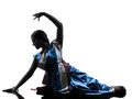 Indian woman dancer dancing silhouette one in studio isolated on white background Stock Photography