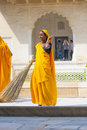 Indian woman of the fourth caste shudras in traditional sari amer india november fourt class brightly colored clean amber palace Stock Images