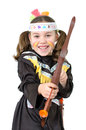 Indian woman girl as an squaw with bow and arrow Stock Image