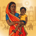 Indian woman holding baby
