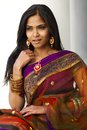 Indian woman portrait a of a young something with long black hair dressed in purple and gold traditional attire sari Stock Photography