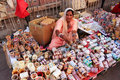 Indian woman selling bangels at Sadar Market, Jodhpur, India Royalty Free Stock Photo