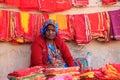 Indian woman selling cloth, Sadar Market, Jodhpur, India Royalty Free Stock Photo