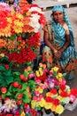 Indian woman selling flowers, Sadar Market, Jodhpur, India Royalty Free Stock Photo