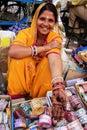 Indian woman showing henna painting, Sadar Market, Jodhpur, Indi Royalty Free Stock Photo