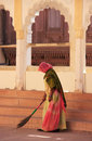 Indian woman sweeping floor mehrangarh fort jodhpur india rajasthan Royalty Free Stock Images