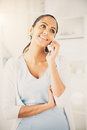 Indian woman using mobile phone happy beautiful Royalty Free Stock Photo