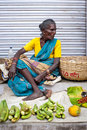 Indian women selling greengrocery at street market place trichy india febr on febr india tamil nadu thanjavur trichy Stock Images