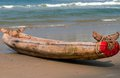 Indian wooden boat on a sandy beach Royalty Free Stock Images