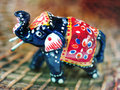 Indian wooden elephant Stock Image