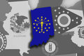 Indiana map and flag Royalty Free Stock Photo