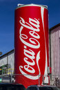 Indianapolis - Circa February 2017: Giant Can of Coca Cola adorns a Bottling Plant XIV