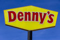 Indianapolis - Circa February 2017: Logo and signage of a Denny`s Coffee Shop. Denny`s is America`s Diner V