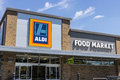 Indianapolis - Circa June 2017: Aldi Discount Supermarket. Aldi sells a range of grocery items at discount prices IX Royalty Free Stock Photo