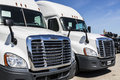 Indianapolis - Circa June 2017: Freightliner Semi Tractor Trailer Trucks Lined up for Sale VIII Royalty Free Stock Photo