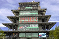 Indianapolis - Circa May 2017: The Panasonic Pagoda at Indianapolis Motor Speedway. IMS Prepares for the of the Indy 500 I Royalty Free Stock Photo
