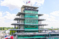 Indianapolis - Circa May 2017: The Panasonic Pagoda at Indianapolis Motor Speedway. IMS Prepares for the of the Indy 500 III Royalty Free Stock Photo