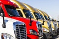 Indianapolis - Circa November 2016: Freightliner Semi Tractor Trailer Trucks Lined up for Sale I Royalty Free Stock Photo