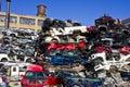 Indianapolis - Circa November 2015 - A Pile of Stacked Junk Cars Royalty Free Stock Photo