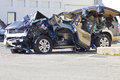 INDIANAPOLIS - CIRCA OCTOBER 2015: Totaled SUV Automobile After Drunk Driving Accident Royalty Free Stock Photo