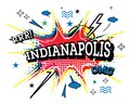 Indianapolis Comic Text in Pop Art Style Isolated on White Background