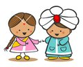 Indians In National Dress. A Boy And A Girl In Traditional Costume. Doodle Cartoon characters.