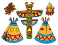 Indians tepees collection Stock Images