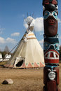 Indians wigwam and totem Royalty Free Stock Photos