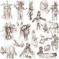 Indians and wild west as well collection of an hand drawn illustrations originals description full sized hand drawn illustrations Stock Images