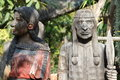 Indians wood carving old in the garden Royalty Free Stock Photos