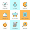 Indie gaming elements line icons set with flat design of scenario video game develop search compass player protection Stock Images