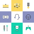 Indie gaming elements pictogram icons set flat line of gameplay competition awards console gamepad and steering wheel victory Royalty Free Stock Images