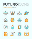 Indie gaming futuro line icons with flat design elements of video game objects develop videogame items gamepad console resources Stock Image