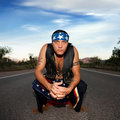 Indigenous man in the middle of a road Royalty Free Stock Photo