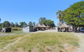 Indigenous village at the okavango delta in botswana africa Royalty Free Stock Image