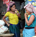 Indigenous women reang bru on a border market between tripura and mizoram states in north east india the ethnic issue of the reang Royalty Free Stock Images
