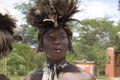 Indigenous young dancer feather decoration zambia Royalty Free Stock Photo