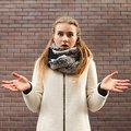 Indignant girl displeased frustrated expression Royalty Free Stock Photo