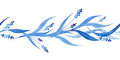 Indigo blue hand drawn seamless border, vector illustration