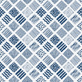 Indigo blue hand drawn seamless pattern vector Stock Photography