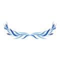 Indigo blue hand drawn semicircle, vector illustration