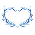 Indigo blue hand drawn wreath, vector illustration