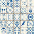 Indigo Blue Tiles Floor Ornament Collection. Gorgeous Seamless Patchwork Pattern from Colorful Traditional Painted Tin Glazed Cera Royalty Free Stock Photo
