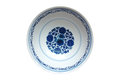 Indigo china ware with flower pattern isolated with white background Royalty Free Stock Photography