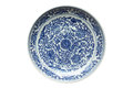 Indigo china ware with flower pattern isolated with white background Stock Photos