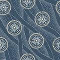 Indigo Hand-Drawn Japanese Circles and Waves Vector Seamless Pattern. Traditional Katazome Katagami Abstract Dyed