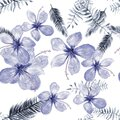 Indigo Seamless Vintage. Cobalt Pattern Painting. Blue Tropical Palm. White Flower Leaf. Gray Drawing Hibiscus.
