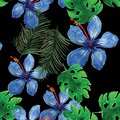 Indigo Seamless Vintage. Cobalt Pattern Painting. Green Tropical Exotic. Natural Floral Exotic. Organic Flower Foliage.