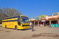 Indiian intercity bus february gujarat india stays close to roadside cafe passengers comes to this cafe Royalty Free Stock Photos